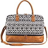 Women Canvas Travel Weekender Overnight Carry-on Duffel Bag with Shoe Compartment (White)