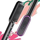 Tymo TYMO Ring Hair Straightener Brush Matte Black - Hair Straightening Brush with Built-in Comb, 20s Fast Heating & 5 Temp S