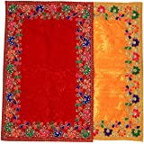 Aditri Creation Velvet Mat Aasan Set (Set of 2 Large Red & Yellow)