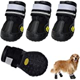 """LiiFUNG Dog Boots Waterproof Shoes for Dogs with Reflective Velcro Rugged Anti-Slip Sole Black 4PCS (Size 8: 3.3""""x2.9""""(LW) fo"""