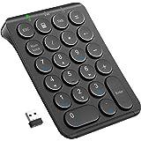 iCleverテンキー 2.4G Tab付き 薄型 充電式 丸いキー設計 数字キーボード 持ち運び便利 PC ノートブック用 IC-KP09ブラック