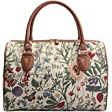Ladies Garden Flower Travel Duffel Weekender Bag Hand Luggage Overnight Bag by Signare with Sunflower Poppy Butterfly Dragonf