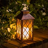 [Set of 2] TAKE ME Solar Lantern,Outdoor Garden Hanging Lantern-Waterproof LED Flickering Flameless Candle Mission Lights for