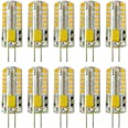 Rayhoo 10pcs Set G4 Base 48-LED Light Crystal Bulb Lamps 3 Watt AC DC 12V Non-dimmable Equivalent to 20W T3Halogen Track Bulb