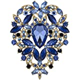 YOQUCOL Vintage Blue Austrian Crystal Rhinestone Leaf Shape Big Large Brooch Pin for Women Gold Tone