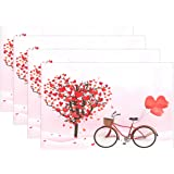 """WOZO Valentine's Day Placemat Table Mat, Romantic Love Heart Tree Bicycle 12"""" x 18"""" Polyester Table Place Mat for Kitchen Din"""