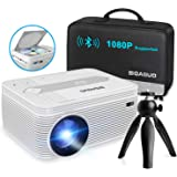 BIGASUO [2021 Upgrade] Bluetooth Full HD Projector Built in DVD Player, Portable Mini Projector 5500 Lumens Compatible with i