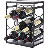 MEIQIHOME Wood Countertop Wine Rack 9 Bottles, Tabletop Wine Bottle Holder, Metal Frame, No Need Assembly