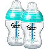 Tommee Tippee Advanced Anti Colic Feeding Bottle, Clear, (2 X 260mL)