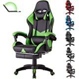 Gaming Chair Office Chair with Massage Lumbar Support, Racing Style PU Leather High Back Adjustable Swivel Task Chair (Footre