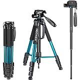 Neewer ポータブルなアルミ合金製三脚/一脚 177cm「青」 3ウエイ回転雲台とキャリングケース付 耐荷重4kg Canon、Nikon、Sony DSLRカメラ、DVビデオカムコーダに対応