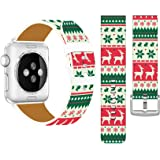 Bands Replacement for Iwatch 40mm/38mm Christmas & Cisland Leather Strap Compatible for Apple Watch Series 1/2/3/4 Sport & Ed