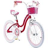 RoyalBaby Stargirl Girl's Bike with Training Wheels and Basket, Kids. 12 Inch, 14 Inch, 16 Inch, Blue/Pink