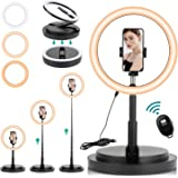 29 cm Selfie Ring Light with Stand and Phone Holder,Rimposky Dimmable Ringlight for Indoor/Live Stream/Makeup/YouTube/Video/P