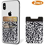 SHANSHUI Phone Stick On Wallet Card Holder, 2 Pack Phone Pocket Compatible with iPhone and All Smartphones-White Cheetah