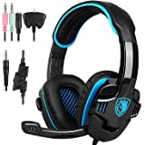Superbuy Gaming headsets with Microphone for PS4,Xbox one.Black and Blue (supera3)