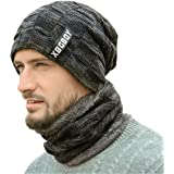 DORRISO Mens Warm Knitted Hat with Scarf Skiing Hat Outdoor Sports Hat Autumn Winter Spring Soft Hats Circle Scarf
