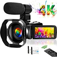 ビデオカメラ4K VlogカメラWIFI機能 48MP 18倍ズーム タッチスクリーン暗視機能 360°遠隔操作 六国語…