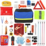 Roadside Emergency Car Kit with Jumper Cables 20 ft, Auto Vehicle Safety Road Side Assistance Kits,First Aid Kit,Tow Rope,Fla