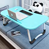 Folding Bed Table Laptop Desk, Bed TV Tray for Breakfast Serving, Lap Desk, Notebook Stand Book Holder with Tablet Slots Perf