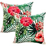 """7ColorRoom 2pack Flower Throw Pillow Covers Tropical Leaves Home Decorative Throw Pillow Covers 18""""×18""""Cushion Covers for Pat"""