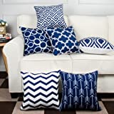Modern Homes 100% Cotton Decorative Throw Pillow Covers Cushion Cases 16 x 16 inch (Navy Blue, Set of 6)