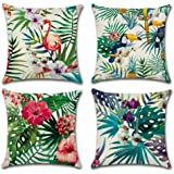 Home Decorative Throw Pillow Covers U-LOVE Flamingo Pattern&Tropical Flower Leaves Cotton Linen Cushion Covers 18 X 18 Inch 4