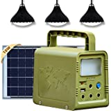 ECO-WORTHY Portable Solar Generator 84Wh Solar Light System with 4V 18W Solar Panel, Camping Lights,USB DC Outlets for Power
