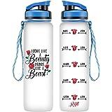 LEADO 32oz 1Liter Motivational Tracking Water Bottle with Time Marker - Looks Like a Beauty Drinks Like a Beast - Funny Best