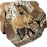 Western Horse Soft Fleece Throw Blanket 63x73