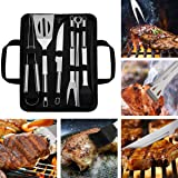WOTOW Barbecue Grill Tools Set, Stainless Steel BBQ Accessories with Storage Bag Men Women Outdoor Grilling Kit Barbecue Gril