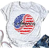 American Independence Day T Shirt Women America Baseball Game Day Tees 4th of July Graphic Short Sleeve Patriotic Tops