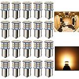 Antline 1156 1141 1003 7506 BA15S LED Bulbs Warm White/Yellow 20-Packs, Super Bright 3014 50-SMD LED for 12 Volt RV Camper Tr