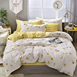 Yellow Floral Duvet Cover Set Flowers Bedding Lucky Clovers and Yellow Plaid Reversible Design Luxury Comforter Cover King 1