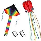 カイト 凧 立体タコ 3Dカイト 凧揚げ スカイカイト 紙鳶 おもちゃ 軽量で丈夫 微風で揚がる凧 カラフルカイト 骨なし 組み立て簡単 玩具 スポーツ アウトドア 100M凧糸 子供 大人 2個セット