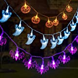 GIGALUMI 3 Set Halloween String Lights 6.5ft Battery Operated Pumpkin Bat Ghost Halloween Lights Decoration for Halloween, Ch
