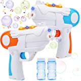 JOYIN 2 Colorful Battery Powered Bubble Gun Blasters with 4 Bottles Bubble Solutions (50ML) for Kids, Indoor and Outdoor Play
