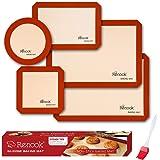 RENOOK Silicone Baking Mats Set of 5-2 Half Sheets Mats + 1 Quarter Sheet Liner + 1 Round & 1 Square Cake Pan Mat - 100% Non-