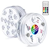 LOFTEK LED Lights Waterproof with Remote (RF), Suction Cups, Magnets, Color Changing Submersible LED Light Battery Operated U