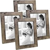Hap Tim 5x7 Picture Frame Rustic Carbonized Black Wooden Photo Frames for Tabletop Display and Wall Decoration, Set of 4 (CWH