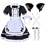 Elibelle Japanese Anime Sissy Maid Dress Cosplay Sweet Classic Lolita Fancy Apron Maid Dress with Socks Gloves Set