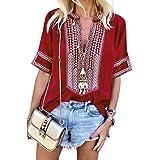 Azokoe Women Short Sleeve V Neck Blouse Casual Boho Embroidered Peasant Loose Top Shirt
