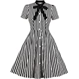 Wellwits Women's Stripes Print Tie Neck Pocket Vintage Button Down Shirt Dress