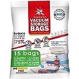 Vacuum Storage Bags - Pack of 15 (3 Jumbo + 4 Large + 4 Medium + 4 Small) ReUsable Space Savers | Free Hand Pump for Travel P