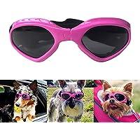 PETLESO 犬サングラス uvカット 小中型犬用ゴーグル 紫外線対策 散歩 お出かけ用 ピンク