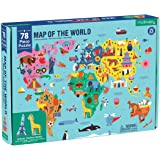 """Mudpuppy Map of the World Puzzle, 78 Pieces, 23""""x16.5"""" – Perfect for Ages 5-9 - Learn Landmarks, Animals, Foods of the World"""