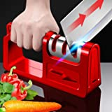 Kitchen Knife Sharpener and Scissor Sharpeners, Professional 3 Stage Knife Sharpener, Safely Sharpen Knives with Diamond, Cer
