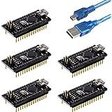 Emakefun Nano V3.0, Nano Board ATmega328P 5V 16M Micro-Controller Board with USB Cable for Arduino (Pre-soldered Nano 5pcs)