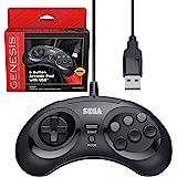 Retro-Bit Official Sega Genesis USB Controller 8-Button Arcade Pad for Sega Genesis Mini, Nintendo Switch, PC, Mac, Steam, Re