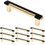"""WELLOCKS Cabinet Handles Solid Pulls 10 Pack 3.8"""" Hole Centers, Solid Metal Drawer Pulls Bar Matte Black, Classic Cabinet Har"""